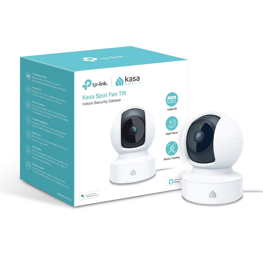 TP-LINK Kasa Indoor, 1080P HD Smart WiFi Security 360 Pan and Tilt Camera, Night Vision, Motion Detection, Remote Monitor, Works with Google Assistant and Alexa (KC110)