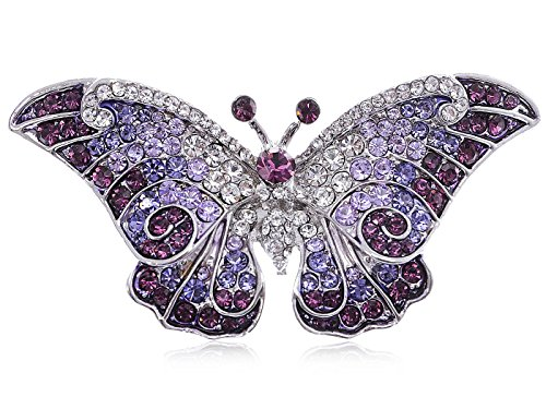 Empress Monarch Winged Butterfly Swarovski Crystal Rhinestones Brooch Pin - Purple, Green, Brown, Blue, Pink, or Black!