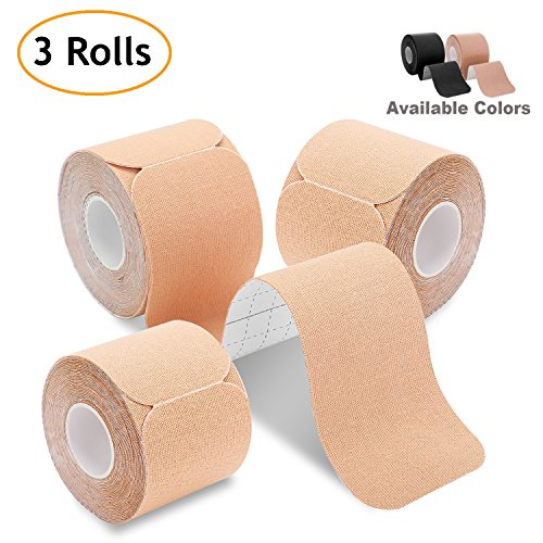 Kinesiology Tape Precut (3 Rolls Pack), Poshei Elastic Therapeutic Sports Tape Pro for Shoulder Knee Elbow Ankle, Waterproof, Breathable, Latex Free, 2 x 16.5 feet Per Roll (Beige)