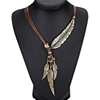 Owill Unisex Alloy Feather Antique Necklace Sweater Chain Pendant Fashion Jewelry (A, Brown)