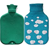 Classic Hot Water Bottle, Premium Rubber Bag with Knitted Cover - 2L Clouds