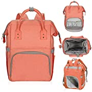 Hynes Eagle Water Resistant Diaper Backpack Multipurpose Baby Travel Bag for Dad or Mom Coral Red