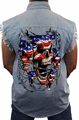 (SHORE TRENDZ Men's Sleeveless Denim Shirt USA Flag Skulls & Chains Biker: Light Denim)