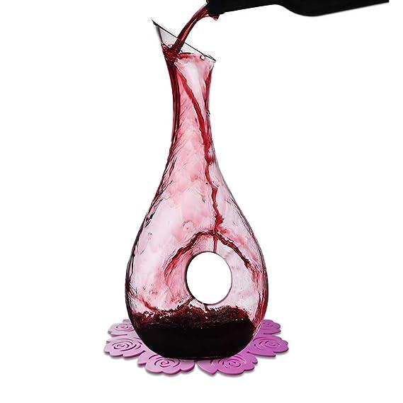 WOQO Jarra Vino, 1.2L Decantador Para Vino Por Cristal Vaso, Aireador De Vino Con Bonito Silicona Almohadilla, Accesorios De Vino: Amazon.es: Hogar