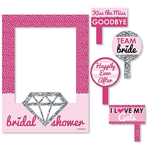 Big Dot of Happiness Bride-to-Be - Bridal Shower Selfie Photo Booth Picture Frame & Props - Printed on Sturdy Material ()