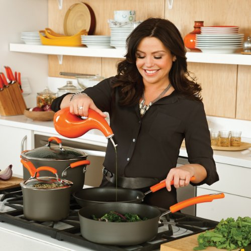 Rachael Ray Hard Anodized II Nonstick 14-Inch Skillet with Helper Handle, Gray with Orange Handle