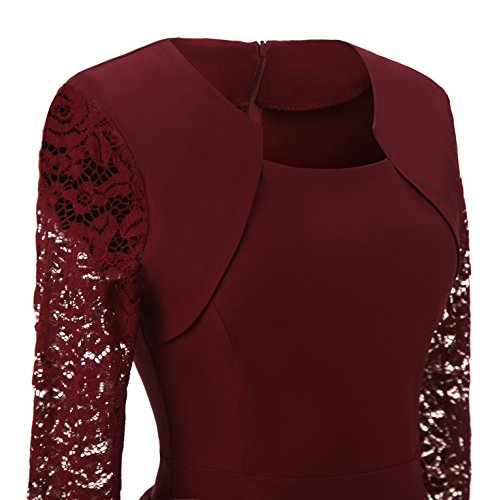 Erosebridal Line Lace A Women Sleeve Vintage Burgundy Cocktail Dress Long Swing SRSaPqwp
