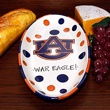 Oval Polka Dot Serving Tray by Magnolia Lane (Auburn Tigers)