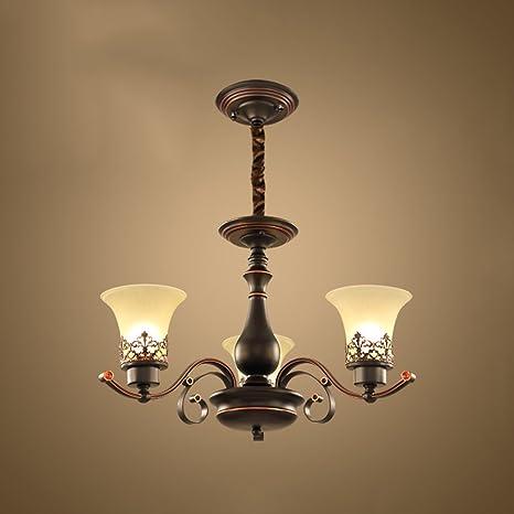 QFFL Lampadari classici di vetro di rame pieno del candeliere 4 ...