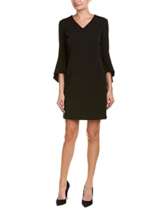 48065229ec Tahari ASL Women s Bell Sleeve Shift Dress Black 8 at Amazon Women s  Clothing store
