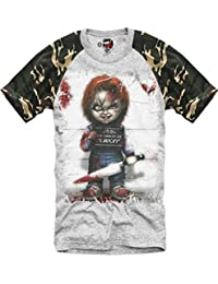 GREY CAMO T-SHIRT CHUCKY GHOSTBUSTERS JAWS HALLOWEEN SCARFACE EVIL S-XL