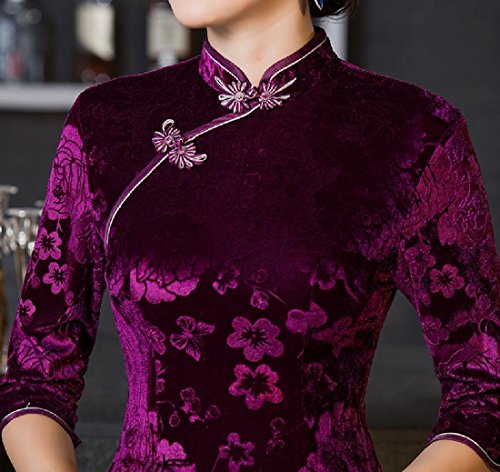 Velvet Gold Out Chinese Cut Comfy Purple Embroidered Women's Qipao Slim Dress twYqxqU4I