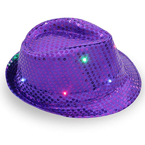 FEDBNET LED Light Up Sequin Fedora Hats, Light Up Hat for Rave and Costume Parties Unisex Bright LED Light Up Blinking Flashing Sequin Jazz Cap Party Hat Suitable for Xmas Party Concert Stage Show -