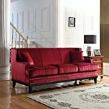 Modern Soft Velvet Sofa with Nailhead Trim Detail (Red)