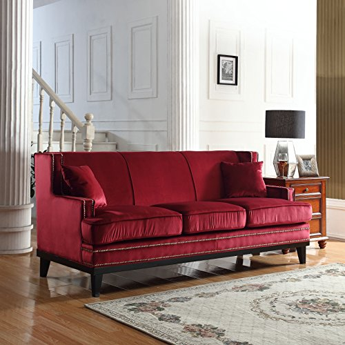 Modern Soft Velvet Sofa with Nailhead Trim Detail (Red) by Divano Roma Furniture