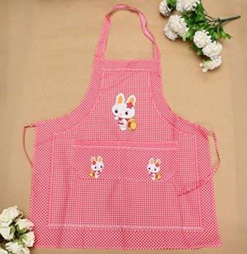 Color Red,Restaurant Kitchen Cooking Work Bib Rabbit Lattice Pocket Cartoon Apron Dress by STCorps7