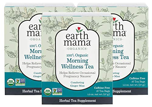 Earth Mama Organic Morning Wellness Tea Bags for Occasional Morning Sickness, 16-Count (3-Pack) ()