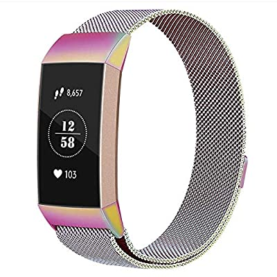 Vancle Metal Bands Compatible with Fitbit Charge 3 and Fitbit Charge 3 SE Fitness Activity Tracker, Milanese Stainless Steel Magnetic Replacement Wristbands for Women Men