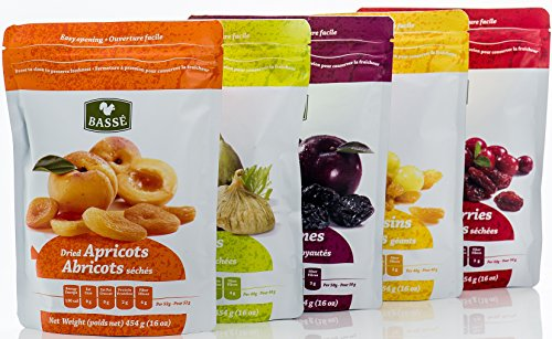 Dried Fruit Variety Pack with Prunes, Figs, Apricots, Golden Raisins and Craisins from Basse – Delicious Sweet Pitted Prunes, Dried Figs, Dried Apricots, Jumbo Raisins, Dried Cranberries (5 Bags)