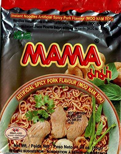 Mama Tom Yum Moo (Spicy Pork Flavor) Instant Noodle Packs of ()