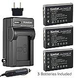 Kastar 3x Battery + Charger for Fujifilm NP-120 Pentax D-LI7 Ricoh DB-43 & FinePix 603 FinePix F10 F11 M603, KYOCERA Contax Tvs, Caplio 300G 400G G3 R330 RR10 RX, Contax BP-1500, Besteker DV-108