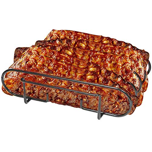 - Luluhome Grill Rib Rack, Nonstick Rib Holder for Smoker Stainless Steel Roasting Rack