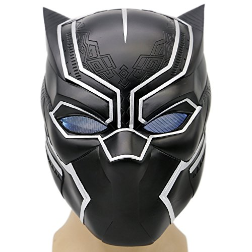 [Black Panther Mask LED Civil Wars Deluxe Helmet Captain Cosplay Costume Adult Xcoser] (Black Panther Civil War Costume)