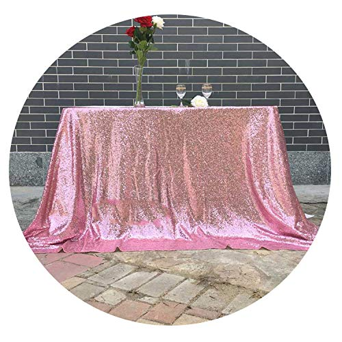 (Ionian-store-home Tablecloth 90x132 inches Wedding Tablecloth Sequin Table Cloth,Pink Gold,60x102in-W150xL255cm)