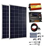 ECO-WORTHY 200 Watt (2pcs 100 Watt) 12V Solar Panel Kit + 20A Battery Charge Controller + 1000W Off Grid Power Inverter