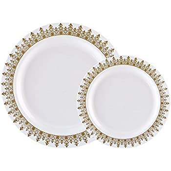 60PCS Heavyweight White with Gold Rim Wedding Party Plastic Plates Dinnerware Sets.30-10.25inch Dinner Plates and 30-7.5inch Salad Plates -WDF (White/Gold ...  sc 1 st  Amazon.com & Amazon.com: Disposable Plastic Plates Premium Quality Ivory and Gold ...