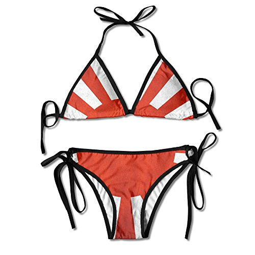 Most Fashion Maker Ladies Red Sun Japan Flag Printing Summer Sexy Two Pieces (Rebel Flag Swimsuit)