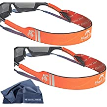 TORTUGA STRAPS FLOATZ Sports Strap – 2 Pack | Adjustable Neoprene Floating Sunglass Straps | Universal Fit Glasses Strap for Small & Large Sunglasses | Retainer Cord Secures Eyewear on Head or Neck