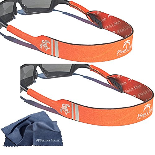Tortuga Straps FLOATZ by Playa Vida- 2 Pack, Parrot Orange, Adjustable, Neoprene Floating Sunglass Straps and Eyeglass Holder – Fits Small & Over-sized glasses to securely retain on head or - The Over Head Sunglasses