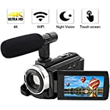 Camcorder 4K Video Camera Full HD 48.0MP Digital Camera Camcorders with External Microphone Wi-Fi Camcorder with Night Vision