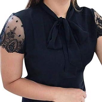 FOTBIMK biała koszulka t-shirt korzystny zakup kobiety lato praca biuro koronka top muszka krÓtki rękaw koszulka bluzka szyfonowa: Odzież
