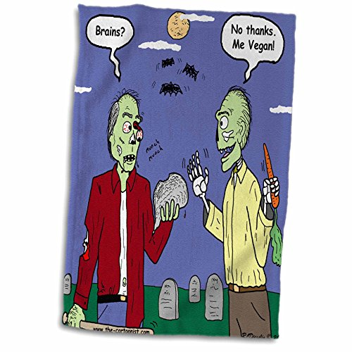 Vegan Halloween Cartoons (3dRose Rich Diesslins Funny General Cartoons - Halloween - Zombie Vegans - 12x18 Hand Towel)