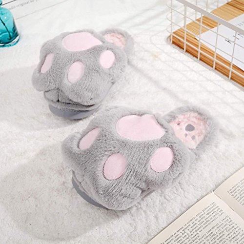 Tinksky Paar Winter Plüsch Hausschuhe Nette Cartoon Klaue Weiche Warme Plüsch Pantoffeln Für Herren und Damen Größe 35-36 (Hellgrau)