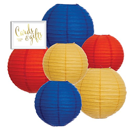 Andaz Press Hanging Paper Lantern Party Decor Trio Kit with Gold Party Sign, Red, Yellow, Royal Blue, 6-Pack, For Kids 1st Birthday ()