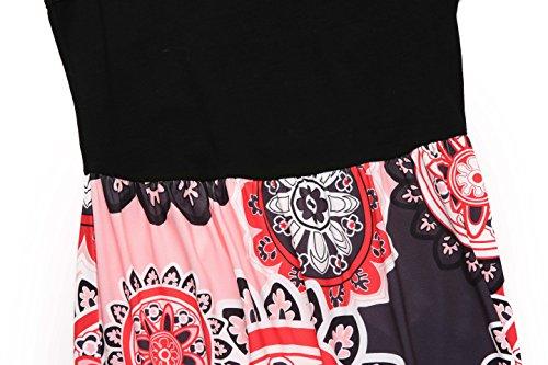 Maxi Long Summer Women's Floral Print Melynnco Dress Casual Sleeveless Dress Pink Black Printed X0H8Rx8w