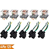 Ehdis® [5 Set] Car Truck Motor Relay Socket with Connector Heavy Duty 12V 60A SPST Waterproof Seal Transparent Case 4 Pin 4 Wire JD2912