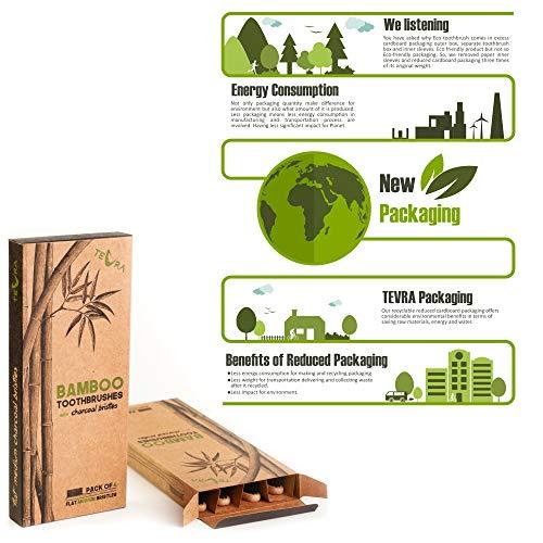 Cepillo de dientes de bambú con cerdas de carbón de TEVRA - Cuidado dental natural para toda la familia | Biodegradable | Cerdas medianas | Libre de ...