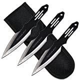Ace Martial Arts Supply Ninja Stealth Black Throwing Knives with Nylon Case (Set of 3) (Thunder Bolt)