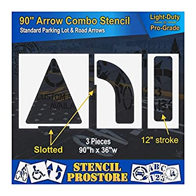 """Parking Lot Stencils - 90 inch - Slotted Straight & Turn Combo Arrow KIT - (3 Piece) - 90"""" x 36"""""""