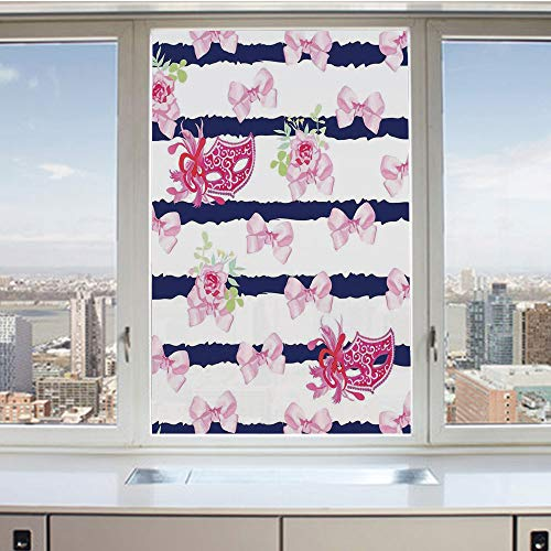(3D Decorative Privacy Window Films,Venetian Style Carnival Masks on Stripes with Satin Bows Roses Flowers,No-Glue Self Static Cling Glass Film for Home Bedroom Bathroom Kitchen Office 17.5x36 Inch)