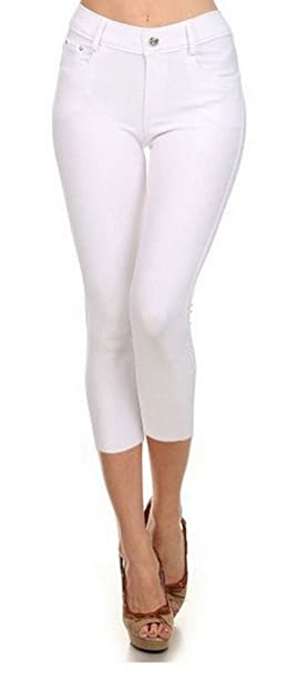0fd1d2e4e16d4 Yelete Women s Basic Capri Jeggings 817JN201 (WHITE