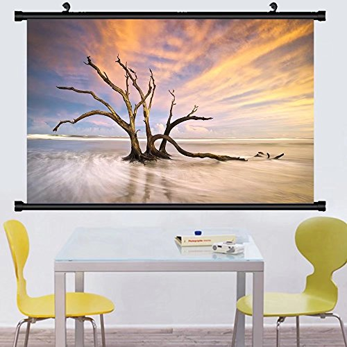 Gzhihine Wall Scroll Posterfolly beach dead tree driftwood ocean sunset charleston sc landscape scene in south carolina ,Wall Art Paiting on Canvas 30