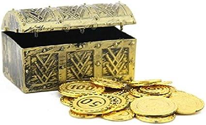 Cofre del tesoro con oro Piratas del Caribe alta simulación Box: Amazon.es: Juguetes y juegos