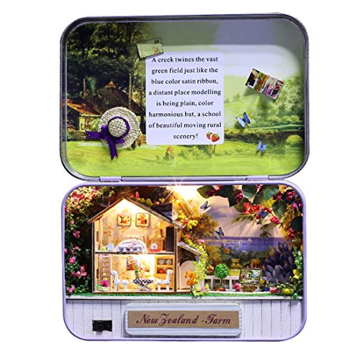 HMANE DIY Box Theater Dollhouse kit Miniature Furniture Kit 3D Mini Iron Secret Box Creative Room - (The New Zealand Farm)