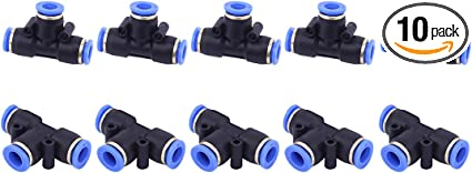 10 PCS SNS SPV-3//8 3//8 Tube OD Union Elbow Plastic Push to Quick Connect Tube Fitting