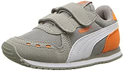 Puma Baby Cabana Racer Mesh Velcro Kids Sneaker, Rock Ridge White-vibrant Orange, 10 M Us Toddler